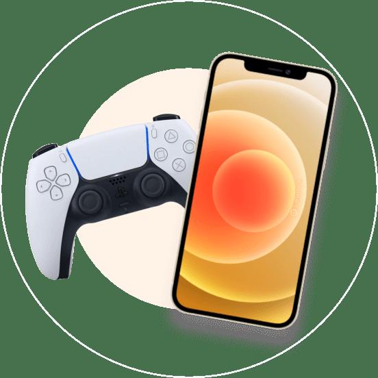 Controle de vídeo game e smartphone