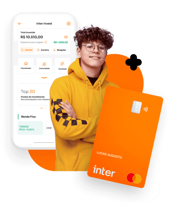 Jovem + cartão e imagem App Conta Digital Banco Inter
