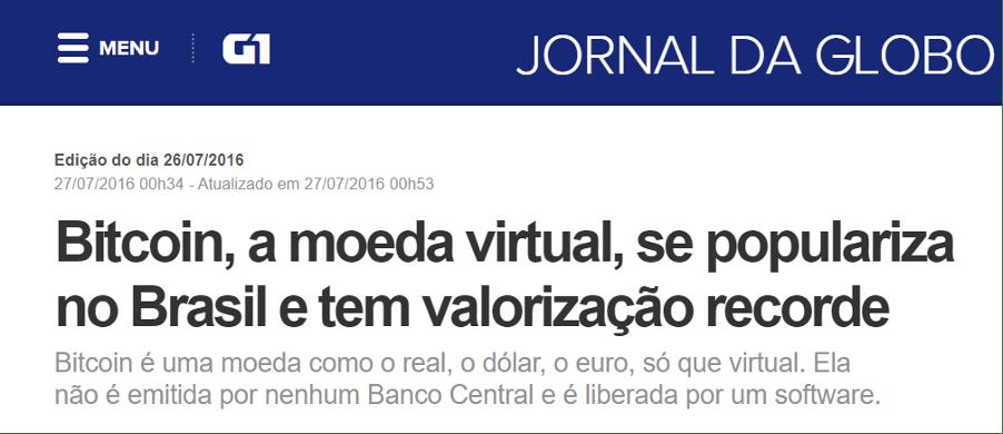 Notícia sobre bitcoint no Jornal da Globo