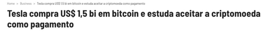 Notícia: Tesla compra bitcoint
