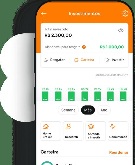 Tela de Investimentos do App Inter